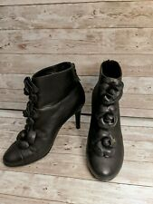 CHANEL Black Camellia Cap Toe Ankle Booties Boots 38
