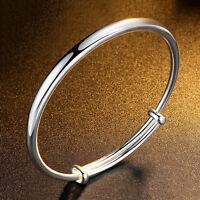 Damen Silber Zircon Einfach Charm Armband Stulpe geöffnetes Armband Schmu G K2Y6