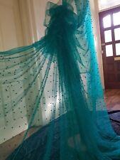 "1m  green tulle  pearl beaded fabric bridal Wedding fabric 60""wide sari"