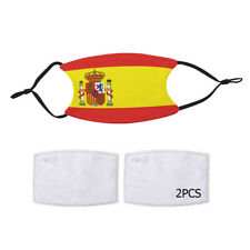 Reusable Face Mask 2 Filters Spain Spanish Flag Country Pride Patriotic National