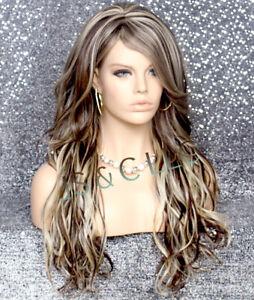 Long Beach wavy Brown Blonde Full Human Hair Blend wig HEAT OK bangs wnta 6-613