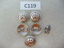 #C119 Enmon Lot of 5 Conchos of a Single Bear Paw Mark 31mm Diameter