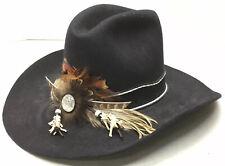 Vintage Charlie 1 Horse 10X Beaver Felt Western Hat Size 7 1/8 Black w/ Feathers