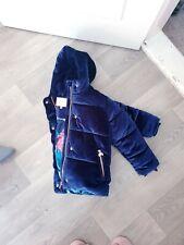*Stunning Girls Ted Baker Blue Velour Rose Gold ExtremelyWarmPuffer Coat..Age 8*