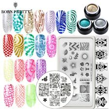 BORN PRETTY 4Pcs Glitter Nail Stamping Gel UV Gel Polish Stamping Plate Set DIY