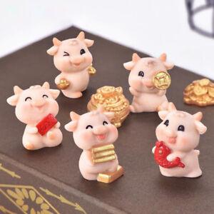 Mini Cow Animals Ornaments Micro Garden Figurines Home Decor DIY Crafts GifY^BI
