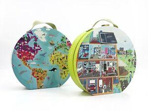 Janod Suitcace Carry Case Puzzle Set - World Map & Eco Home Kids