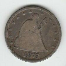 1875 CC Very Good VG Seated Liberty US Silver Twenty Cent Piece 20C