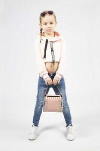 Girls Crop Top New Kids Long Sleeve Hoodie Block Print Jumper Age 1-16 Years NEW
