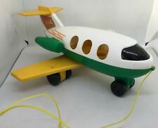 Fisher Price   Plane , family jet  #182, vintage 1980. green yellow