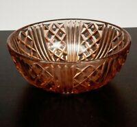Vintage Pink Pressed Glass Bowl Trifle Fruit Mid Century Decorative Art Deco