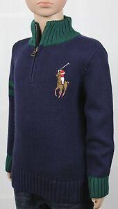 Children POLO Ralph Lauren Navy Blue 1/2 Half Zip Big Pony Sweater NWT $75