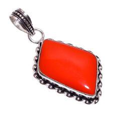 Collares y colgantes de joyería rojo coral de plata de ley