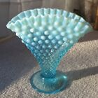 Vintage Fenton Hobnail Fan Vase Blue Opalescent Glass Ruffled Edge 8 x 8 Art G