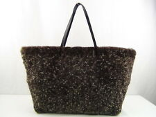US seller Authentic FENDI FUR LEATHER TOTE BAG PURSE GOOD