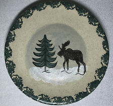 MOOSE POTTERY salad plate hand painted Moose tree green border trim matte finish