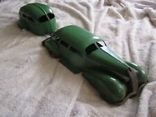 1930s Wyandotte Steel Toy LaSalle Sedan Car with Air Stream Camper Trailer