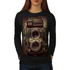 Wellcoda Old Foto Camera Womens Long Sleeve T-shirt, Retro Casual Design