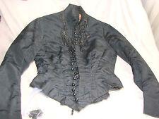 Vintage Victorian Edwardian Bodice Black Xs Bead Appliques Top B32 Buttons