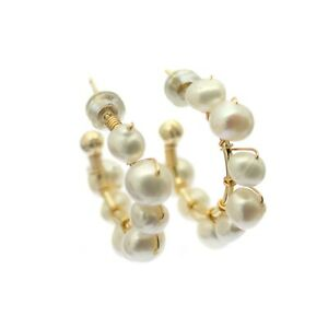 Beaded Pearl Hoop Earrings Eight Small White Cultured Pearls on Gold Wire