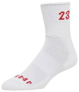 Nike Men's Air Jordan AJ 6 Heritage Crew Socks White/Gym Red CU7887-100 f Size M