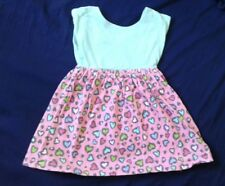 Euc Gymboree Baby Girl 6-12 Months Mint And Pink Heart Print Dress