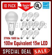 100W Equivalent 15W LED Light Bulbs 1600L Soft White 2700K A19 E26 NON-DIMMABLE