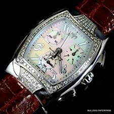 Lady Technomarine 1.2 CTW Diamonds Swiss Made Chrono White MOP Leather Watch New