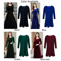 Winter Womens Velvet Swing Dress Cocktail Evening Long Sleeve Dresses Plus Size