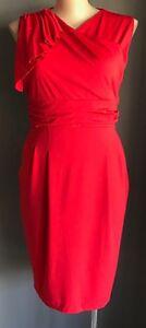 OXIULI Red Sleeveless Stretch Sheath Cocktail Dress Plus Sizes 18 & 20