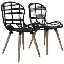 vidaXL 4x Dining Chairs Natural Rattan Black Indoor Kitchen Furniture Seat