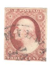 Scott 10   Early US Stamp  3c Washington ..Town Cancel...