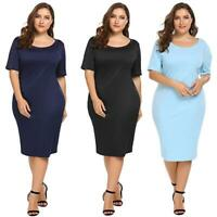Women Plus Size Slim Fit Short Sleeve Midi Dress RLWH
