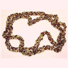 Necklace, brown & yellow glass seedbeads vintage hrg