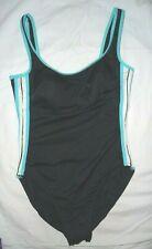 Miraclesuit Black w/ aqua one piece bathing swim suit Shaper slimming Size 10