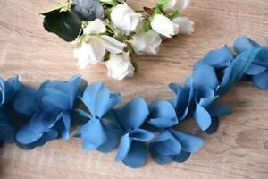 TR177 Blue 50mm Wide 3 Meters Flower Mesh Ribbon Trim Lace