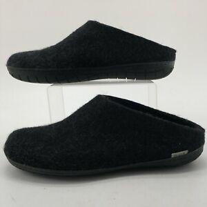 Glerups Mens 45 Casual Mule House Slippers Black Wool Slip On Comfort Shoes