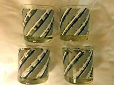 Vintage Georges Briard Mid Century Blue Striped Rocks Glasses Lowball Set of 4