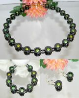 3er Schmuckset Halsette Armband Ohrringe Hämatit schwarz Perle grün gold  486n