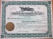 1916 Car/Automobile/Tire Stock Certificate: 'Northland Rubber Company, Inc.'
