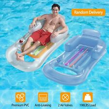 59in Inflatable Pool Float Raft Lounge w/ Headrest Armrest Cup Holder Air Mat