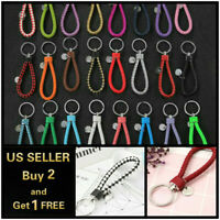 Leather Braided Rope Key Chain Strap Fob Ring Car Home Unisex Weave 22 colors