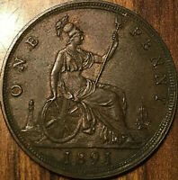 1891 GREAT BRITAIN VICTORIA PENNY - Excellent example!