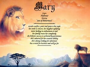 """""""Lion"""" Name Meaning Print Personalized"""