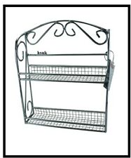 2 TIER CHROME SPICE HERB RACK HOLDER STORER STORAGE FREE STAND WALL MOUNTED 5863