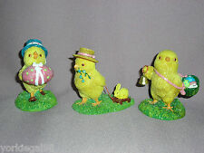 Department 56 Primitive / Vintage Look Set of 3 Easter Chick Figurines