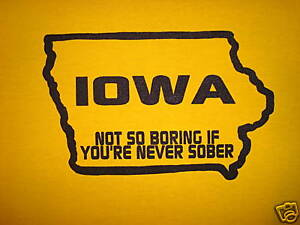 XXL iowa new party funny vintage college beer t shirt