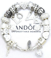 Authentic PANDORA 925 Silver Charm Bracelet & Euro Charms White WIFE LOVE New