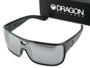 NEW Genuine DRAGON HEX Sunglasses Shiny Black Silver Ionized Lens Mens DR 009