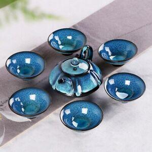 Porcelain Set 6 Cups 1 Tea Pot Starry Sky Tea Set Jingdezhen  Kung Fu Tea Cup